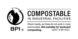 BPI certified compostable in industrial facilities