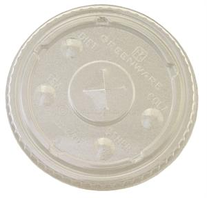 Greenware 9/12/20-oz. Cold Cup Flat Lid (with slot) - Case of 1000