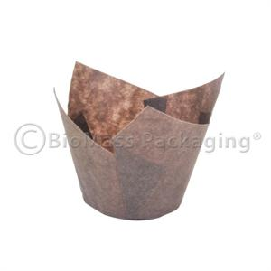 Brown Tulip Baking Cup Small (2 - 3.5oz) - Case of 2040