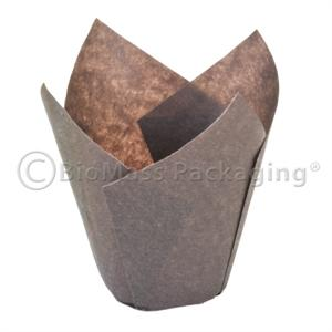 Brown Tulip Baking Cup Large (4.5 - 5.5oz) - Case of 2000