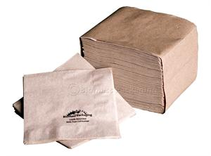 "BioMass Packaging Natural 1-ply Beverage Napkin printed (5"" x 5"" folded) - Case of 5000"