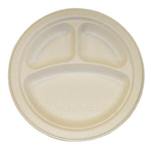 "BagasseWare 10"" 3-Compartment Plate - Case of 500"