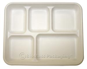 BagasseWare 5-Compartment Lunch Tray (10.625\  x 8.5\ ) - Case ...  sc 1 st  Biomass Packaging Store : 5 compartment paper plates - pezcame.com