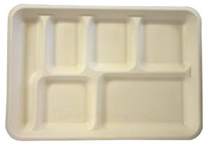 "BagasseWare 6-Compartment Lunch Tray (10.25"" x 7.75"") - Case of 250"