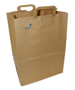 "1/6 BBL Natural Kraft Flat Handle Grocery Bag (12"" x 7"" x 17"") - Bale of 300"