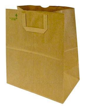 "1/7 BBL Natural Kraft Flat Handle Grocery Bag (12"" x 7"" x 14"") - Bale of 300"