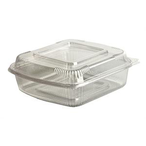 Clear, hinged clamshell containers made of Ingeo. 100% bio-based and compostable.