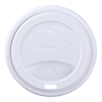 White PP Dome Sipper Lid for Karat Earth 10 - 20 oz Hot Cups P/N 620-10528