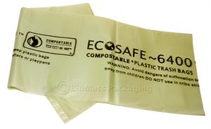 Biodegradable &  Compostable EcoSafe 6400 trash can liners