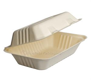 "BagasseWare Oblong Clamshell (9"" x 6"" x 3.2"") - Case of 250"
