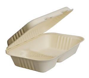 "BagasseWare 2-Compartment Oblong Clamshell (9.75"" x 6.5"" x 2.5"") - Case of 250"