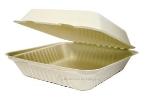 "BagasseWare PLA-Lined Large Deep Clamshell (9"" x 9"" x 3.2"") - Case of 160"