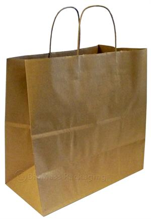 "Natural Kraft Shopping Bag w/handles (13"" x 7"" x 13"") - Case of 250"